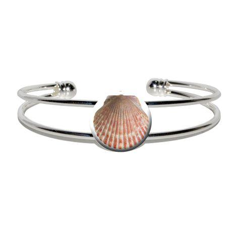 Seashell - Ocean Silver Plated Metal Cuff Bracelet