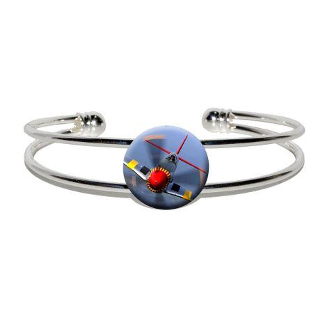 World War 2 II Fighter Plane Aircraft Silver Plated Metal Cuff Bracelet
