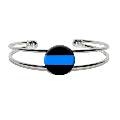 Thin Blue Line Silver Plated Metal Cuff Bracelet