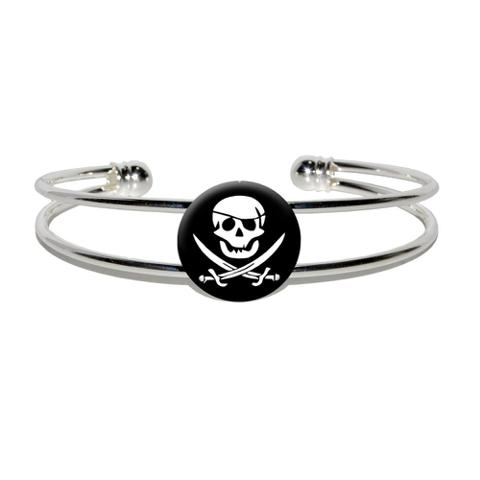 Pirate Skull Crossed Swords - Jolly Roger Silver Plated Metal Cuff Bracelet