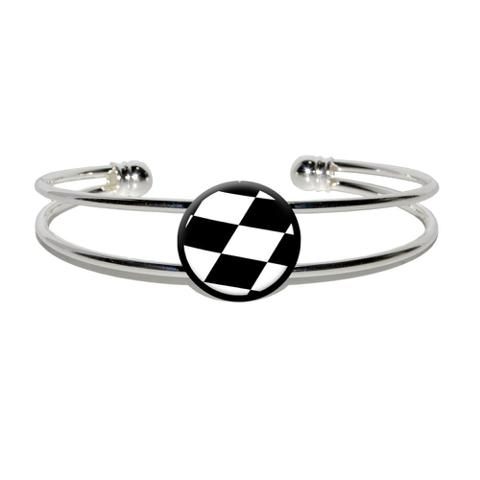 Checkered Flag - Racing Silver Plated Metal Cuff Bracelet