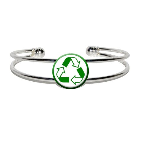 Recycle Reuse Conservation - Hybrid Silver Plated Metal Cuff Bracelet