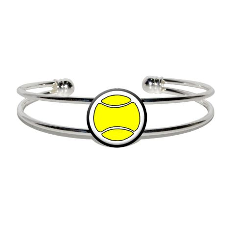 Tennis Ball Silver Plated Metal Cuff Bracelet