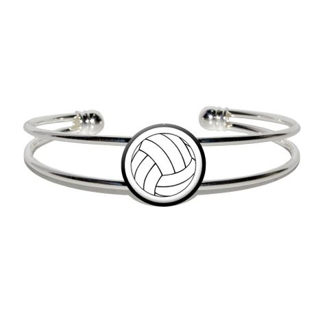 Volleyball Silver Plated Metal Cuff Bracelet