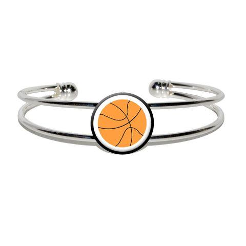 Basketball Silver Plated Metal Cuff Bracelet