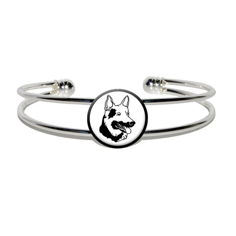 German Shepherd - Dog Silver Plated Metal Cuff Bracelet