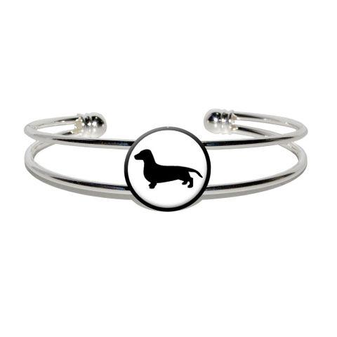 Dachshund - Weiner Dog Silver Plated Metal Cuff Bracelet