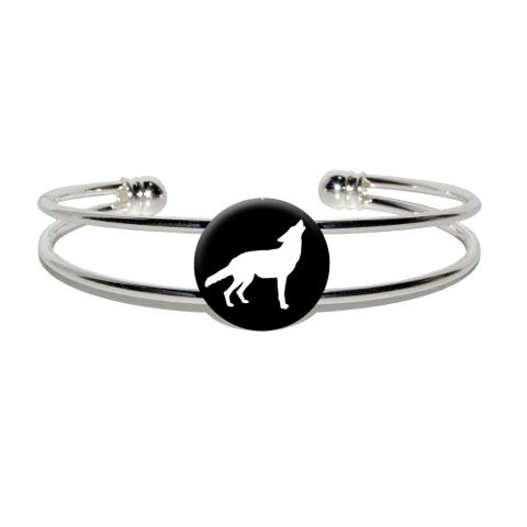 Wolf Howling Silver Plated Metal Cuff Bracelet