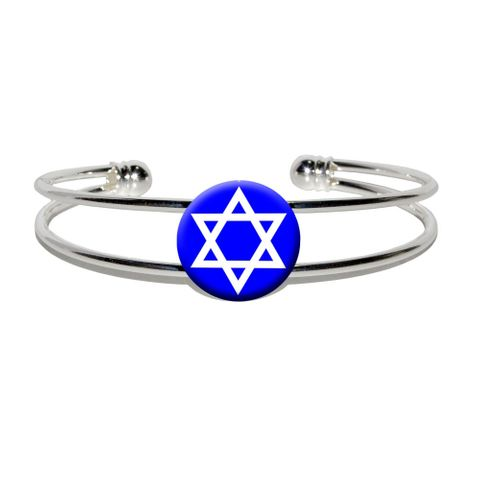 Star of David - Shield Jewish Silver Plated Metal Cuff Bracelet