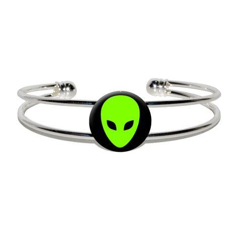 Alien Head - Roswell Silver Plated Metal Cuff Bracelet