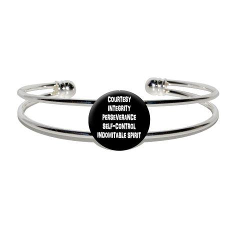 Five Tenets of Taekwondo Silver Plated Metal Cuff Bracelet