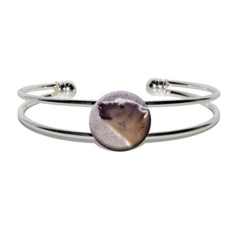 Polar Bear Silver Plated Metal Cuff Bracelet