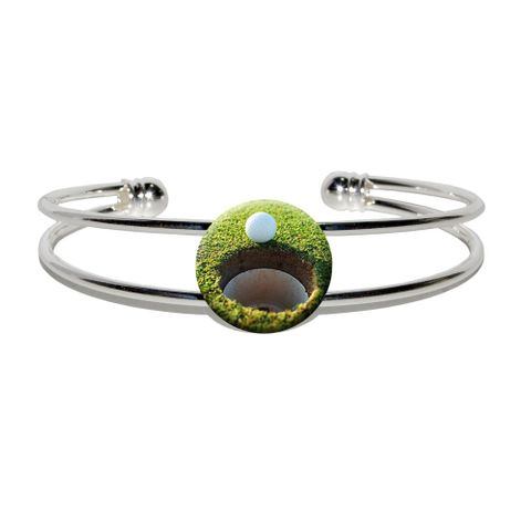 Golf Ball and Hole - Golfing Silver Plated Metal Cuff Bracelet
