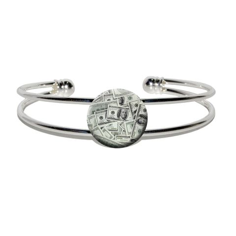 Hundred Dollar Bills Money Currency Silver Plated Metal Cuff Bracelet