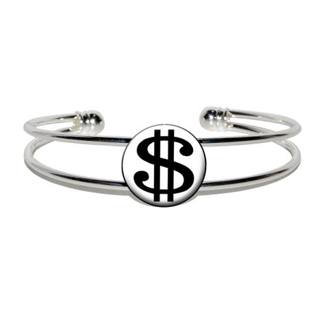 Dollar Sign White and Black Silver Plated Metal Cuff Bracelet