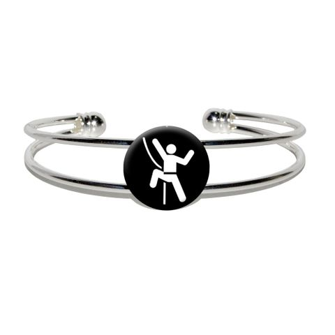 Rock Climbing Repelling Belay Silver Plated Metal Cuff Bracelet