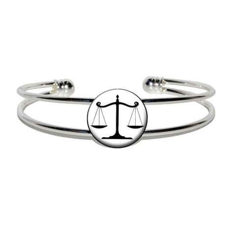 Balanced Scales of Justice Symbol Legal Lawyer White and Black Silver Plated Metal Cuff Bracelet
