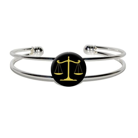 Balanced Scales of Justice Symbol Legal Lawyer Gold and Black Silver Plated Metal Cuff Bracelet
