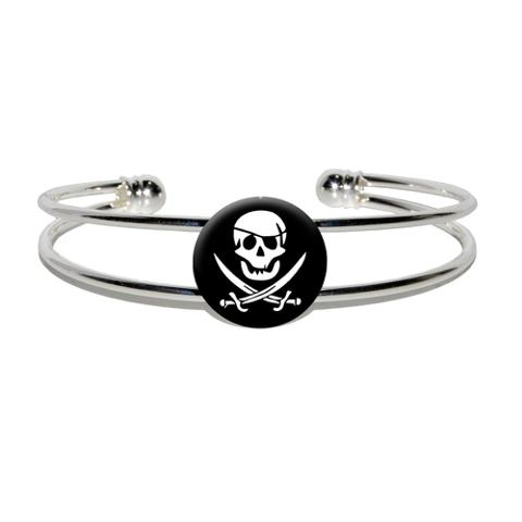Pirate Silver Plated Metal Cuff Bracelet