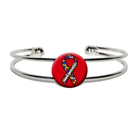 Autism Awareness Silver Plated Metal Cuff Bracelet