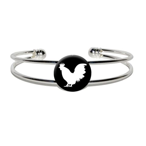 Rooster - Cock Silver Plated Metal Cuff Bracelet