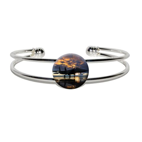 Aircraft Jet Fighter at Sunset - Air Force Silver Plated Metal Cuff Bracelet