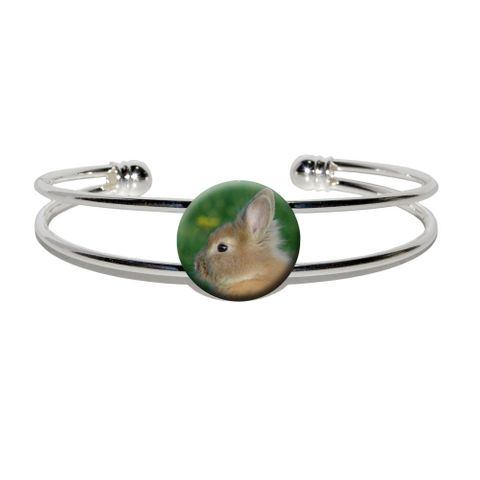 Bunny Rabbit Brown Tan - Easter Silver Plated Metal Cuff Bracelet