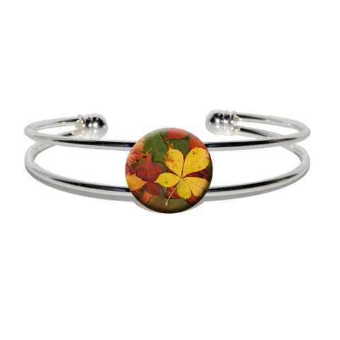 Colorful Autumn Fall Leaves Silver Plated Metal Cuff Bracelet