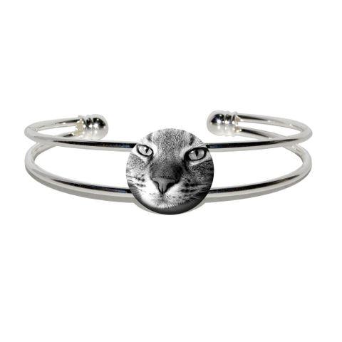 Domestic Shorthair Tabby Cat Silver Plated Metal Cuff Bracelet