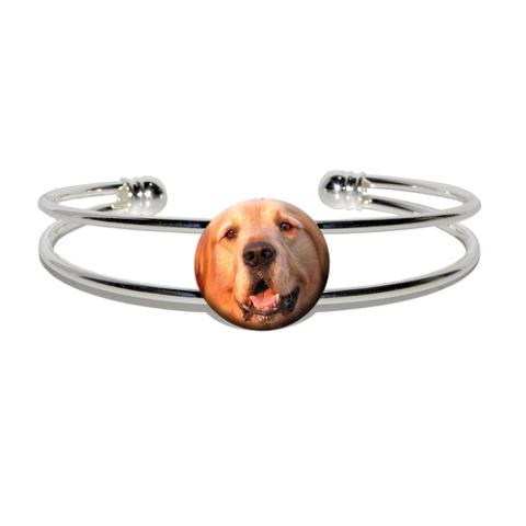Golden Retriever Dog Silver Plated Metal Cuff Bracelet