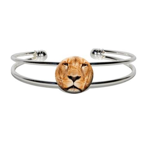 Portrait of a Male Lion Silver Plated Metal Cuff Bracelet
