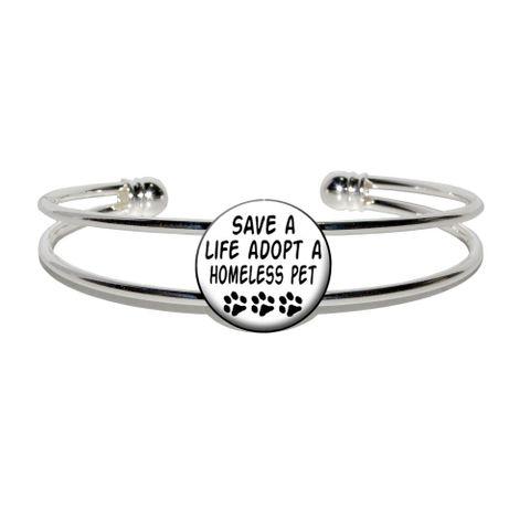 Save a Life Adopt a Homeless Pet - Dog Cat Adoption Silver Plated Metal Cuff Bracelet