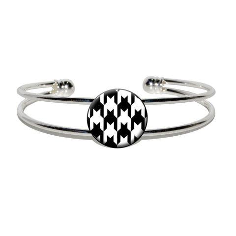 Preppy Houndstooth White Black Silver Plated Metal Cuff Bracelet