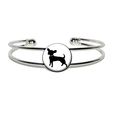 Chihuahua Silver Plated Metal Cuff Bracelet