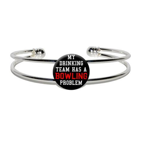 My Drinking Team has a  BowlingProblem Silver Plated Metal Cuff Bracelet