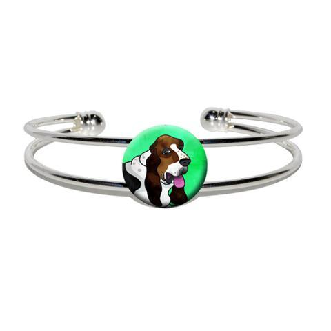 Basset Hound Green Silver Plated Metal Cuff Bracelet