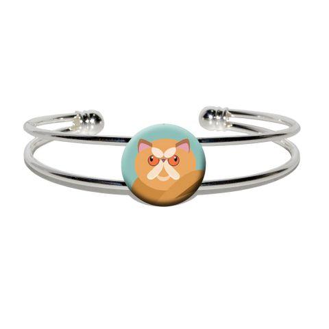 Geometric Persian Orange Silver Plated Metal Cuff Bracelet