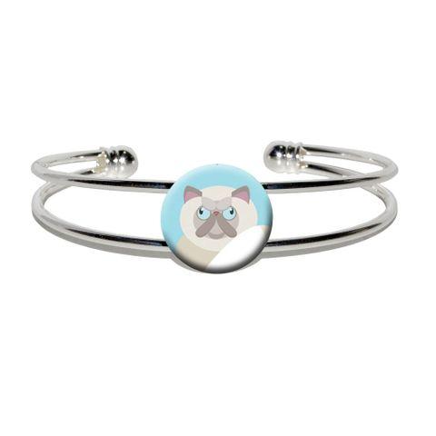 Geometric Persian Cream Silver Plated Metal Cuff Bracelet