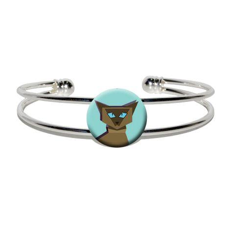 Geometric Cat Siamese Dark Silver Plated Metal Cuff Bracelet