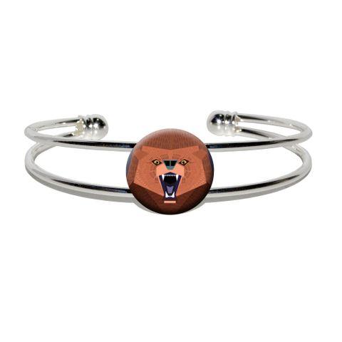 Geometric Bear Red Purple Silver Plated Metal Cuff Bracelet