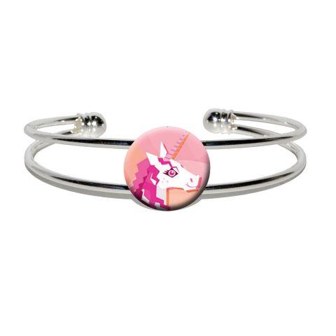 Geometric Unicorn Pink - Fantasy Silver Plated Metal Cuff Bracelet