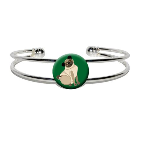Pug Green - Dog Pet Silver Plated Metal Cuff Bracelet