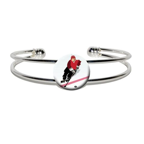 Ice Hockey Player Red Jersey Silver Plated Metal Cuff Bracelet