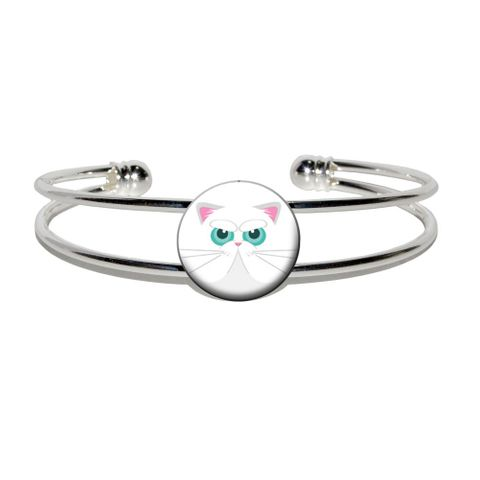 Persian Cat Face Silver Plated Metal Cuff Bracelet