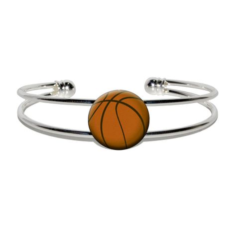 Basketball Sporting Goods Sportsball Silver Plated Metal Cuff Bracelet