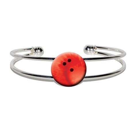 Bowling Ball Sporting Goods Sportsball Silver Plated Metal Cuff Bracelet