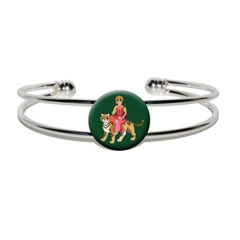 Hindu Deity Durga Silver Plated Metal Cuff Bracelet