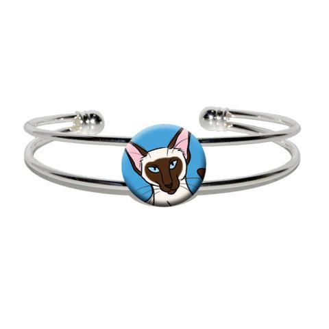 Siamese Cat - Pet Silver Plated Metal Cuff Bracelet