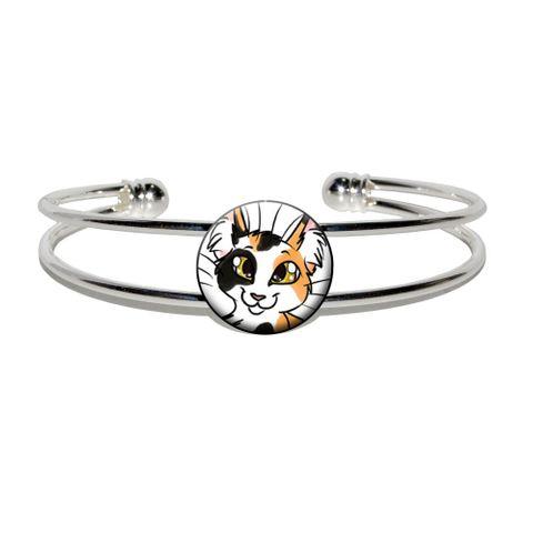 Calico Cat - Pet Silver Plated Metal Cuff Bracelet