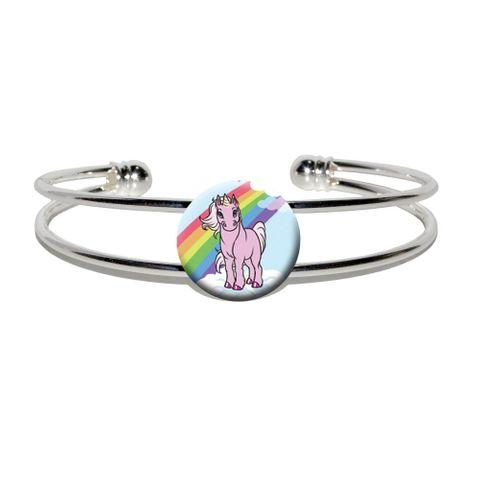 Pink Unicorn on Cloud - Rainbow Pony Silver Plated Metal Cuff Bracelet